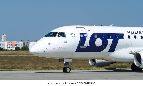 Kharkiv, Ukraine - August 19 2018: LOT Polish airlines is parking after landing at Kharkiv airport
