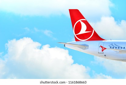 Kharkiv, Ukraine - August 19, 2018: Turkish airlines airbus flight