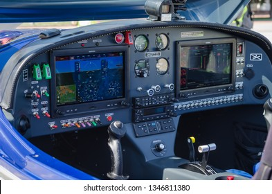 Kharkiv, Ukraine - August 19 2019: Inside the cockpit of the small private jet  Aircraft BRM - Aero Bristell