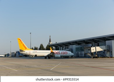 KHARKIV, UKRAINE - AUGUST 20, 2017: Kharkiv International Airport. Terminal A. Pegasus Airlines Turkish airplane at the new terminal of Kharkiv Airport constructed after renovation