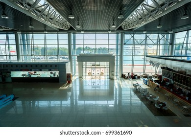 KHARKIV, UKRAINE - AUGUST 20, 2017: Kharkiv International Airport. New terminal of Kharkiv Airport constructed after renovation. Interior view.