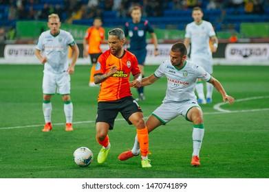 Kharkiv, Ukraine - August 4, 2019: Marlos, midfielder of Shakhtar Donetsk, dribbling the ball in match of Ukraine Premiere League against Karpaty Lviv