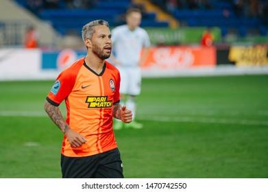 Kharkiv, Ukraine - August 4, 2019: Marlos, midfielder of Shakhtar Donetsk in match of Ukraine Premiere League against Karpaty Lviv