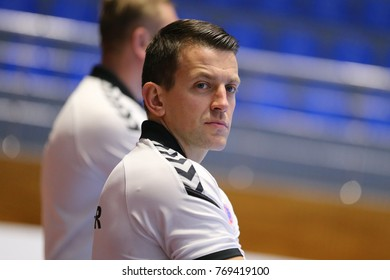 KHARKIV, UKRAINE - DECEMBER 03, 2017: Motor head coach close portrait. ROMBEL Patryk face. EHF Men's Champions League Group Phase HC Motor Zaporozhye - Montpellier HB