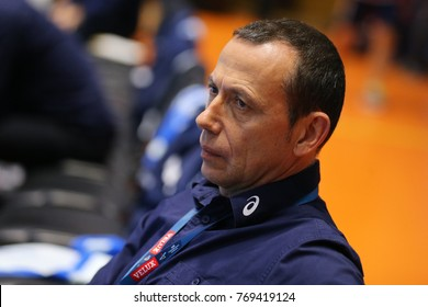 KHARKIV, UKRAINE - DECEMBER 03, 2017: Montpellier head coach SEVE Nicolas portrait. EHF Men's Champions League Group Phase HC Motor Zaporozhye - Montpellier HB