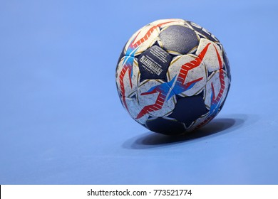 KHARKIV, UKRAINE - DECEMBER 03, 2017: Select official tournament match ball on the blue floor. EHF Men's Champions League. HC Motor Zaporozhye - Montpellier HB