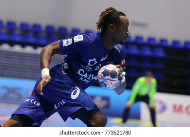 KHARKIV, UKRAINE - DECEMBER 03, 2017: CAUSSE Theophile close-up portrait dribbling the ball. EHF Men's Champions League. HC Motor Zaporozhye - Montpellier HB