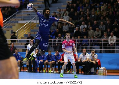 KHARKIV, UKRAINE - DECEMBER 03, 2017: Beautful jump shot by BINGO Arnaud. EHF Men's Champions League. HC Motor Zaporozhye - Montpellier HB
