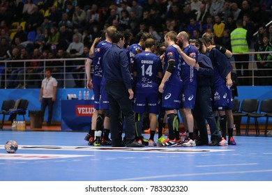 KHARKIV, UKRAINE - DECEMBER 03, 2017: Montpellier Handball team group photo during time-out. EHF Men's Champions League. HC Motor Zaporozhye - Montpellier HB
