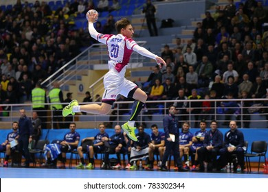 KHARKIV, UKRAINE - DECEMBER 03, 2017: Beautiful jump shot by KOZAKEVYCH Artem. EHF Men's Champions League. HC Motor Zaporozhye - Montpellier HB