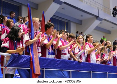 KHARKIV, UKRAINE - DECEMBER 03, 2017: Motor Zaporozhye fans with flags supporting their team. EHF Men's Champions League. HC Motor Zaporozhye - Montpellier HB