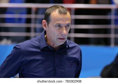 KHARKIV, UKRAINE - DECEMBER 03, 2017: Montpellier head coach Patrick Canayer close-up portrait. EHF Men's Champions League. HC Motor Zaporozhye - Montpellier HB