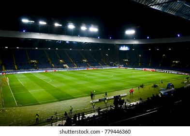 KHARKIV, UKRAINE - December 06, 2017: General view of the stadium Metalist arena during the UEFA Champions League match between Shakhtar Donetsk vs Manchester City (England), Ukraine