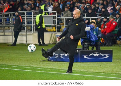 KHARKIV, UKRAINE - December 06, 2017: Pep Guardiola hits the ball during the UEFA Champions League match between Shakhtar Donetsk vs Manchester City (England), Ukraine