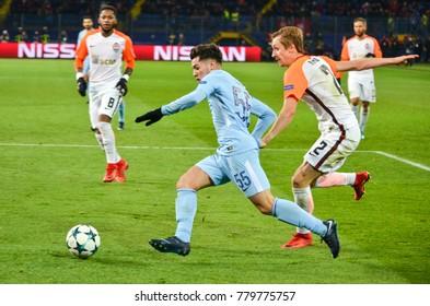 KHARKIV, UKRAINE - December 06, 2017: Brahim Díaz (R during the UEFA Champions League match between Shakhtar Donetsk vs Manchester City (England), Ukraine
