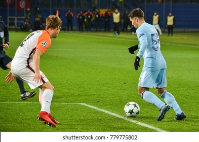KHARKIV, UKRAINE - December 06, 2017: Brahim Díaz during the UEFA Champions League match between Shakhtar Donetsk vs Manchester City (England), Ukraine