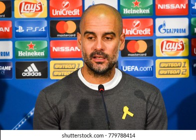 KHARKIV, UKRAINE - December 06, 2017: Pep Guardiola at the press conference during the UEFA Champions League match between Shakhtar Donetsk vs Manchester City (England), Ukraine