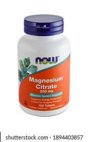 KHARKIV, UKRAINE - December, 18, 2020: Bottle of Magnesium citrate isolated on white background. Now Foods