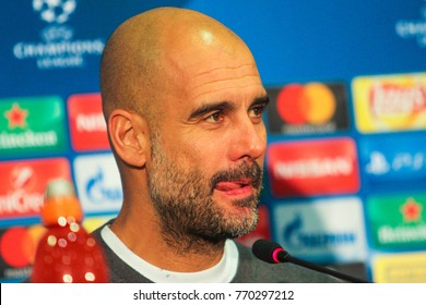KHARKIV, UKRAINE – DECEMBER 6, 2017: Manchester City F.C. Head Coach Pep Guardiola during the UEFA Champions League match Shakhtar (Ukraine) - Manchester City at Metalist Stadium