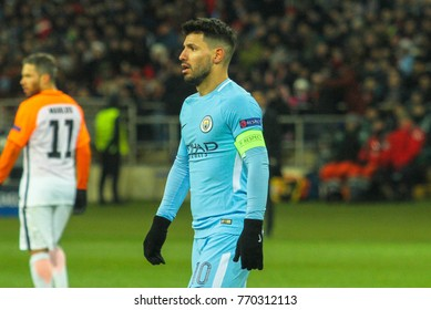 KHARKIV, UKRAINE – DECEMBER 6, 2017: Footballer Manchester City F.C. Sergio Aguero during the UEFA Champions League match Shakhtar (Ukraine) - Manchester City at Metalist Stadium