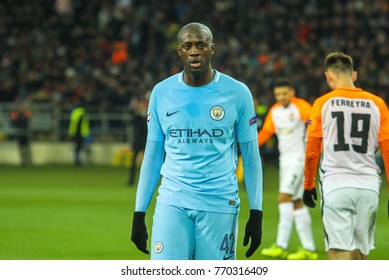 KHARKIV, UKRAINE – DECEMBER 6, 2017: Footballer Manchester City F.C. Yaya Toure during the UEFA Champions League match Shakhtar (Ukraine) - Manchester City at Metalist Stadium