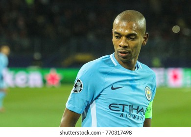 KHARKIV, UKRAINE – DECEMBER 6, 2017: Footballer Manchester City F.C. Fernandinho during the UEFA Champions League match Shakhtar (Ukraine) - Manchester City at Metalist Stadium