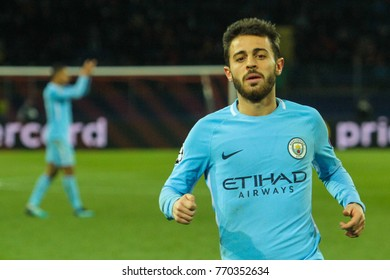 KHARKIV, UKRAINE – DECEMBER 6, 2017: Footballer Manchester City F.C. Bernardo Silva during the UEFA Champions League match Shakhtar (Ukraine) - Manchester City at Metalist Stadium