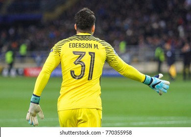 KHARKIV, UKRAINE – DECEMBER 6, 2017: Footballer Manchester City F.C. Ederson during the UEFA Champions League match Shakhtar (Ukraine) - Manchester City at Metalist Stadium