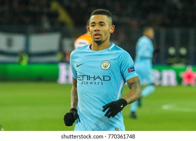 KHARKIV, UKRAINE – DECEMBER 6, 2017: Footballer Manchester City F.C. Gabriel Jesus during the UEFA Champions League match Shakhtar (Ukraine) - Manchester City at Metalist Stadium