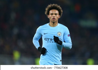 KHARKIV, UKRAINE - DECEMBER 6, 2017: Leroy Sane close-up portrait. UEFA Champions League. Shakhtar Donetsk - Manchester City