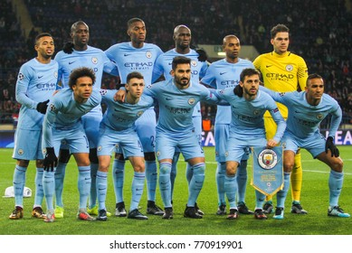 KHARKIV, UKRAINE – DECEMBER 6, 2017: Footballers FC Manchester City during the UEFA Champions League match Shakhtar (Ukraine) - Manchester City at Metalist Stadium
