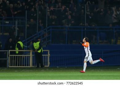 KHARKIV, UKRAINE - DECEMBER 6, 2017: Bernard Duarte celebrates scored goal. Wild with joy, happy fans on background. UEFA Champions League. Shakhtar Donetsk - Manchester City