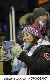 KHARKIV, UKRAINE - FEB 23: Fans and supporters  of Celta de Vigo at the stadium during the UEFA Europa League match between Shakhtar Donetsk vs RC Celta de Vigo (Spain), 23 February 2017, Ukraine