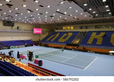 KHARKIV, UKRAINE - FEBRUARY 11, 2017: Panoramic view of tennis court of Palace of Sports Lokomotiv during BNP Paribas FedCup game Ukraine vs Australia, Kharkiv, Ukraine
