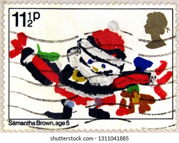 Kharkiv, Ukraine - February 11, 2019: Postal stamp printed in the United Kingdom shows Santa Claus, Drawing by Samantha Brown, Age 5, Christmas, circa 1981