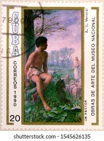 Kharkiv, Ukraine - February 12, 2019: Postal stamp of Cuba shows A Shepherd by Armando Menocal, National Museum, Havana, circa 1990.