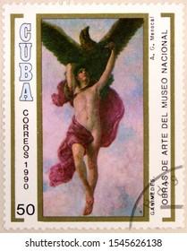 Kharkiv, Ukraine - February 12, 2019: Postal stamp of Cuba shows The Abduction of Ganymede by Armando Menocal, National Museum, Havana, circa 1990.