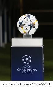 KHARKIV, UKRAINE - FEBRUARY 21, 2018: Official match ball of UEFA Champions League season 2017/18 on pedestal before Champions League Round of 16 game Shakhtar v Roma at OSK Metalist stadium
