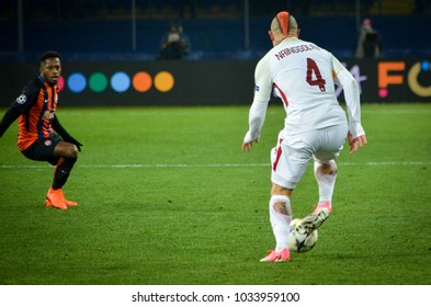 KHARKIV, UKRAINE - FEBRUARY 21, 2018: Radja Nainggolan during UEFA Champions League match between Shakhtar Donetsk vs AS Roma at OSK Metalist stadium, Ukraine