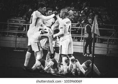 KHARKIV, UKRAINE - FEBRUARY 21, 2018: AS Roma players and Cengiz Under celebrates the goal scored during UEFA Champions League match between Shakhtar Donetsk vs AS Roma, Ukraine