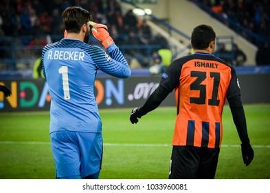 KHARKIV, UKRAINE - FEBRUARY 21, 2018: Alisson Becker during UEFA Champions League match between Shakhtar Donetsk vs AS Roma at OSK Metalist stadium, Ukraine