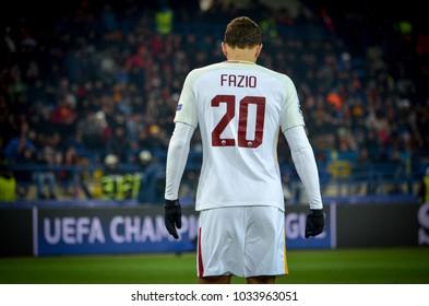 KHARKIV, UKRAINE - FEBRUARY 21, 2018: Federico Fazio during UEFA Champions League match between Shakhtar Donetsk vs AS Roma at OSK Metalist stadium, Ukraine