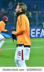 KHARKIV, UKRAINE - FEBRUARY 21, 2018: Daniele De Rossi during UEFA Champions League match between Shakhtar Donetsk vs AS Roma at OSK Metalist stadium, Ukraine