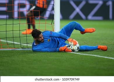KHARKIV, UKRAINE - FEBRUARY 21, 2018: Alisson Becker portrait making save. UEFA Champions League Round of 16. Shakhtar Donetsk-AS Roma. Metalist stadium, Kharkiv