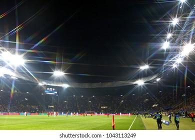 KHARKIV, UKRAINE - FEBRUARY 21, 2018: Panoramic view of OSK Metalist stadium in Kharkiv during UEFA Champions League Round of 16 game Shakhtar v Roma
