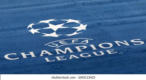 KHARKIV, UKRAINE - FEBRUARY 21, 2018: Official UEFA Champions League logo on the carpet during UEFA Champions League Round of 16 game Shakhtar v Roma at OSK Metalist stadium in Kharkiv, Ukraine