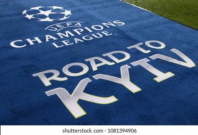 KHARKIV, UKRAINE - FEBRUARY 21, 2018: Official UEFA Champions League Final logo on the carpet during UEFA Champions League Round of 16 game Shakhtar v Roma at OSK Metalist stadium in Kharkiv, Ukraine