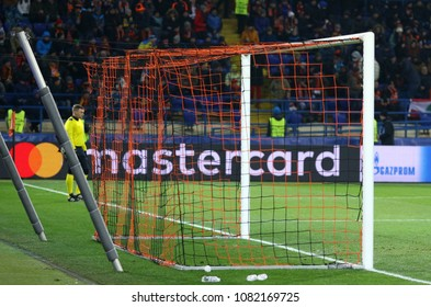 KHARKIV, UKRAINE - FEBRUARY 21, 2018: Empty goal net of the OSK Metalist stadium seen during the UEFA Champions League Round of 16 game Shakhtar v Roma