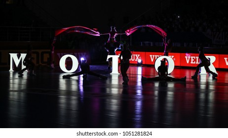 KHARKIV, UKRAINE - FEBRUARY 24, 2018: HC Motor Zaporozhye cheerleaders silhouettes in the dark. EHF Men's Champions League Group Phase HC Motor Zaporozhye - Skjern Handbold