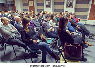 KHARKIV, UKRAINE - JANUARY 17, 2016: Classroom meeting at lecture at Spalah creative space.